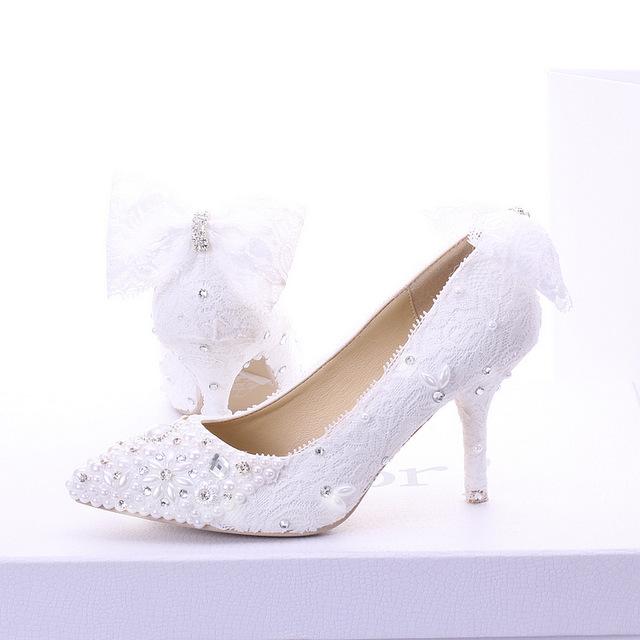 Livraison gratuite blanc perle chaussures de mariage elegant dentelle strass de mariee chaussures talons minces bouche jpg 640x640