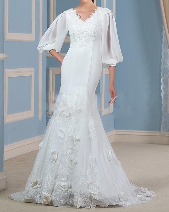 Magnifique dentelle applique sirene robes de mariee 2016 v cou 3 4 lanterne manches plus la