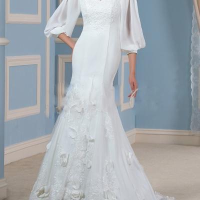 Robe de mariée manches longues coupe sirène