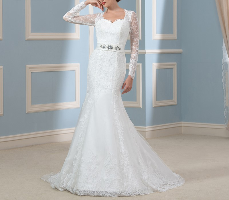 Magnifique manches longues sirene robes de mariee 2016 dentelle applique keyhole retour vintage robes de mariee