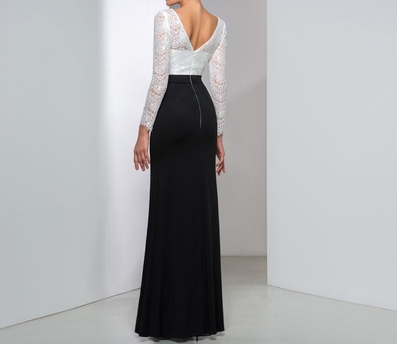 Magnifique noir et blanc manches longues robes de soir eacute