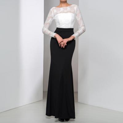 Magnifique noir et blanc manches longues robes de soiree 2016 sexy dentelle dos ouvert a encolure