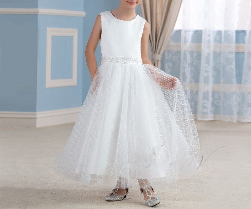 Mignon blanc dentelle fleur fille robes ivoire sainte communion robe filles pageant b eacute 1