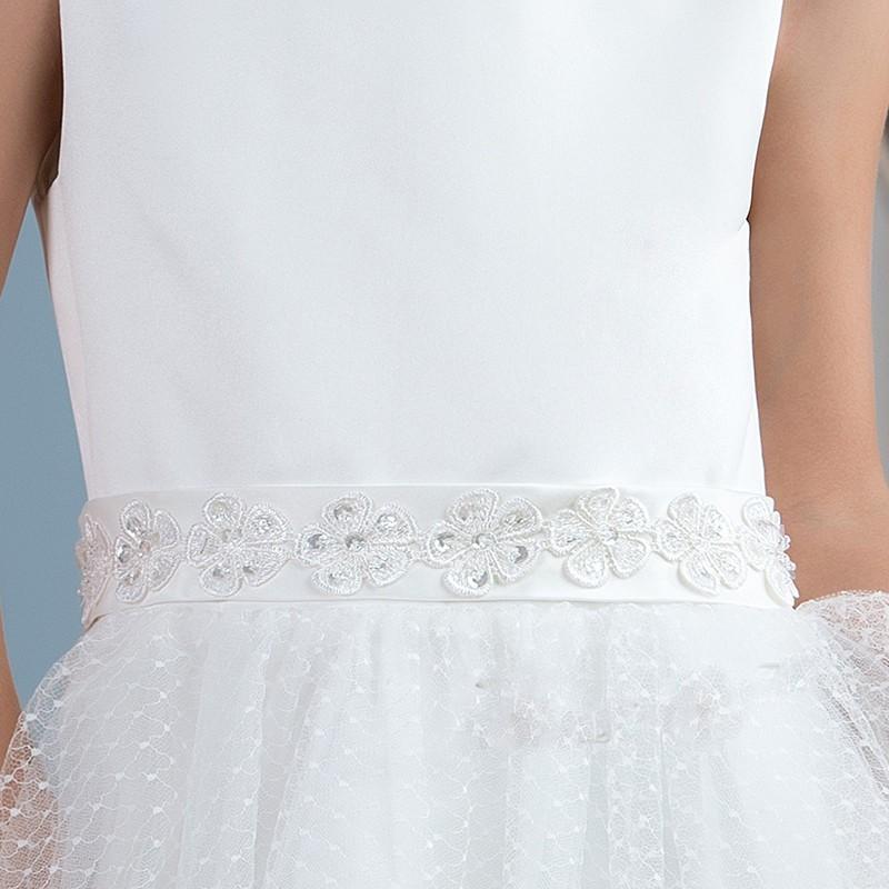 Mignon blanc dentelle fleur fille robes ivoire sainte communion robe filles pageant b eacute 2
