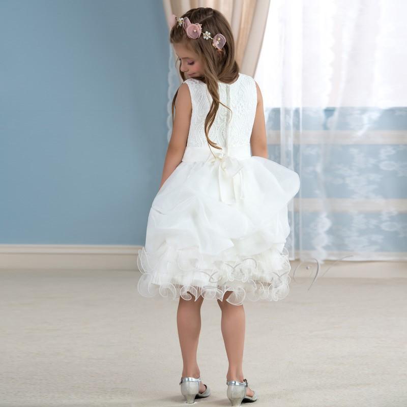 Mignon blanc dentelle tutu fleur fille robes genou longueur ivoire sainte communion robe filles pageant wedding 1