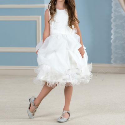 Mignon blanc dentelle tutu fleur fille robes genou longueur ivoire sainte communion robe filles pageant wedding 2
