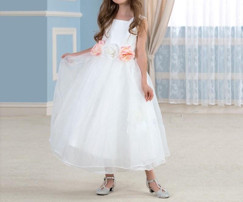 Mignon blanc organza robes fille fleur pour des mariages longueur a ligne pageant robe enfants robes 1