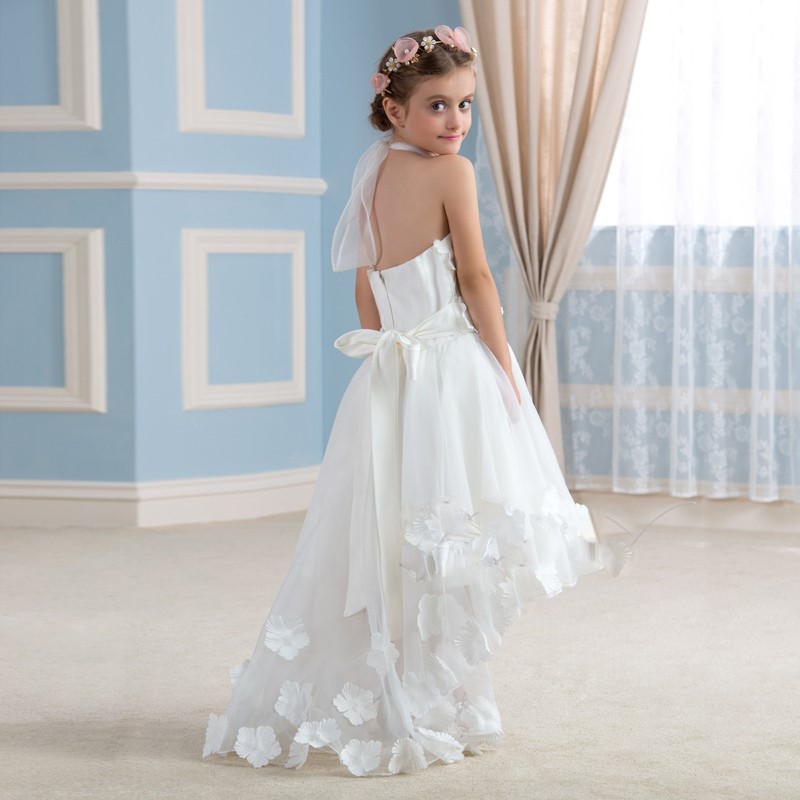 Mode blanc high low robes de demoiselle halter cou enfants premi egrave 1