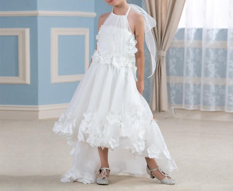 Mode blanc high low robes de demoiselle halter cou enfants premi egrave 1