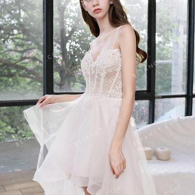 Nifty illusion lace and tulle high low wedding dress 1