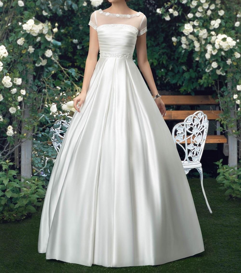 Nouvelle arrivee robes de mariee 2015 perlee scoop cou a manches courtes robe de mariee en