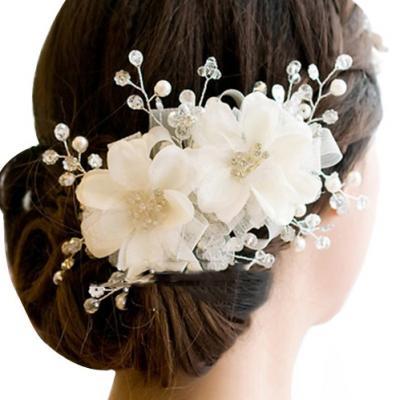 Ornements de cheveux de cheveux de mariage accessoires coiffe floral romantique dentelle hairwear fleur de mariage