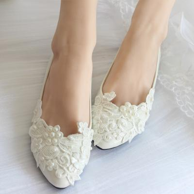 Pearl lace wedding shoes white handmade bridal bridesmaid shoes flats heel low single shoes ladies shoes 1