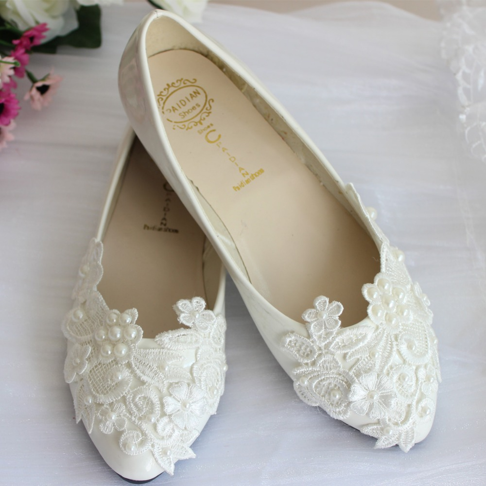 Pearl lace wedding shoes white handmade bridal bridesmaid shoes flats heel low single shoes ladies shoes
