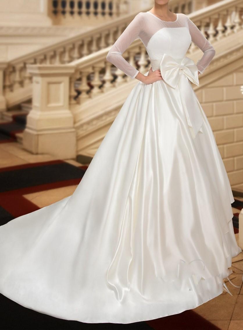 Robes de mariee modestes avec poche 2015 scoop cou bowknot sheer manches longues chapelle train robes