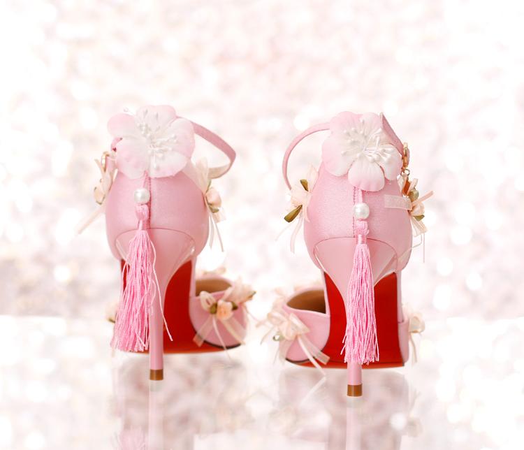 Rose satin tissu bout pointu ultra hauts talons chaussures de mariage gland talons minces dentelle fleur 3