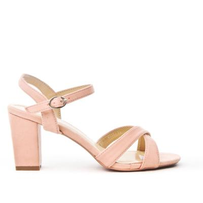 Sandale rose en simili daim a brides croisees