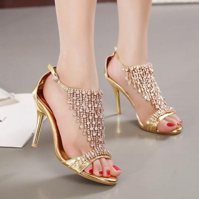 Sandales diamant à bride doré