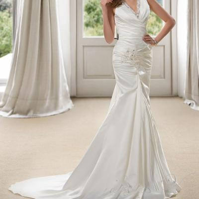 Robe de mariée sirène col V