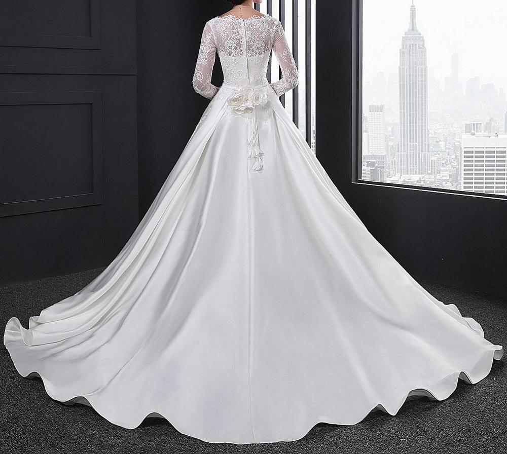 Sl028 blanc robe de noiva dentelle robe de mari eacute