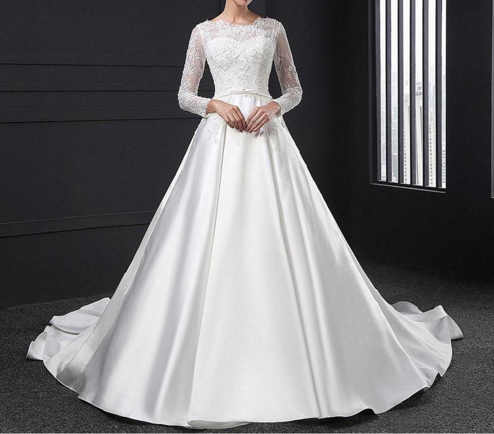 Sl028 blanc robe de noiva dentelle robe de mariee perles complet manches princesse robe de mariee