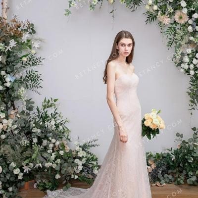 Strapless pearl pink lace and tulle sheath bridal dress 1