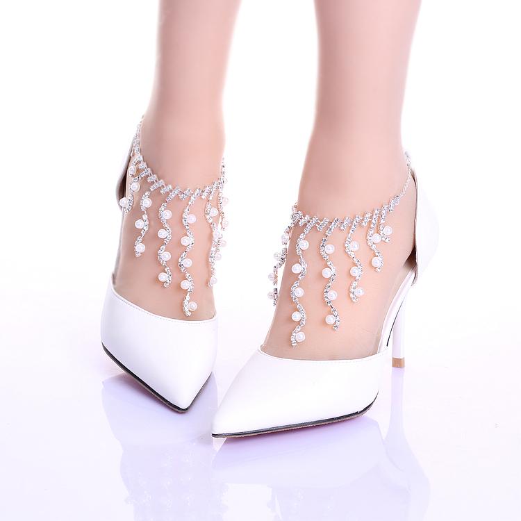 Strass chaine bracelet chaussures de mariage elegant talons minces chaussures bout pointu chaussures de performance femmes