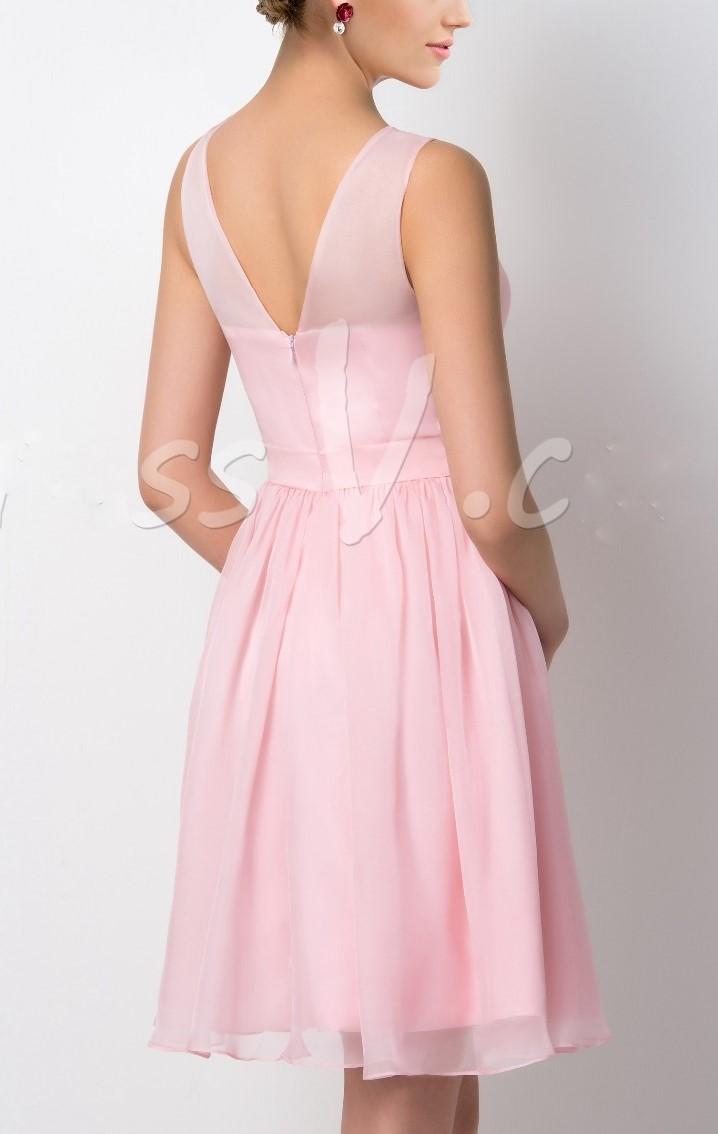 Vente chaude v cou bretelles a ligne courte robe de demoiselle d honneur rose ruches demoiselle 1