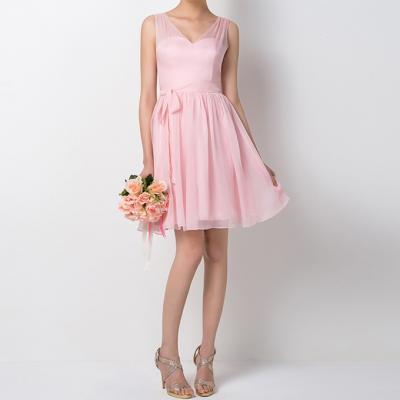 Vente chaude v cou bretelles a ligne courte robe de demoiselle d honneur rose ruches demoiselle