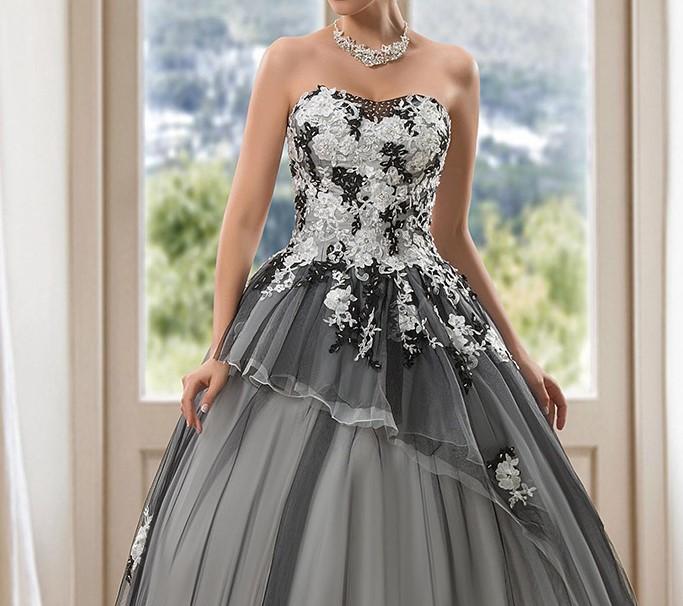 Vintage blackwedding robes robe de bal robes de mariee cherie lace up appliques paillettes robe de 1
