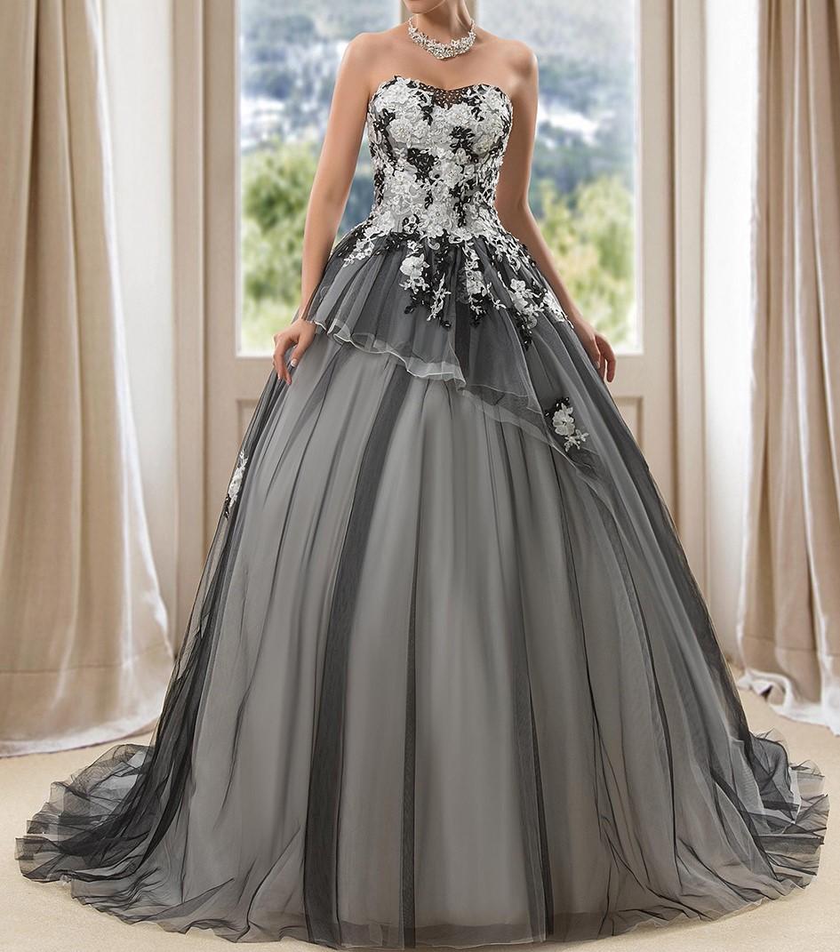 Vintage blackwedding robes robe de bal robes de mariee cherie lace up appliques paillettes robe de