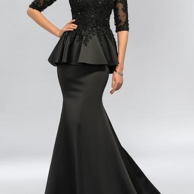 Vintage noir sirene dentelle longues robes de soiree moitie manches perles o cou peplum robe de