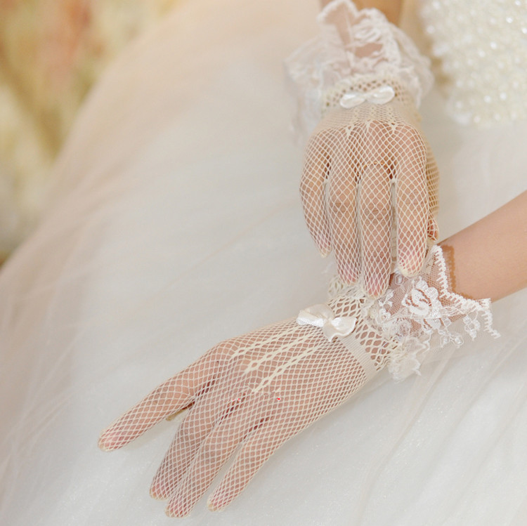 Wedding gloves mesh lace decoration ultra elastic knitted gloves black white g030